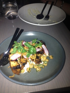 Chargrilled Western Plains pork belly, chickpea, pork crackling and pickled radish